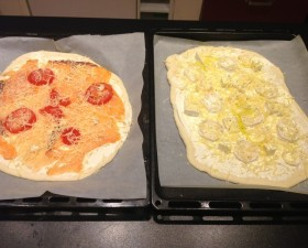 Pizzas saumon et fromage