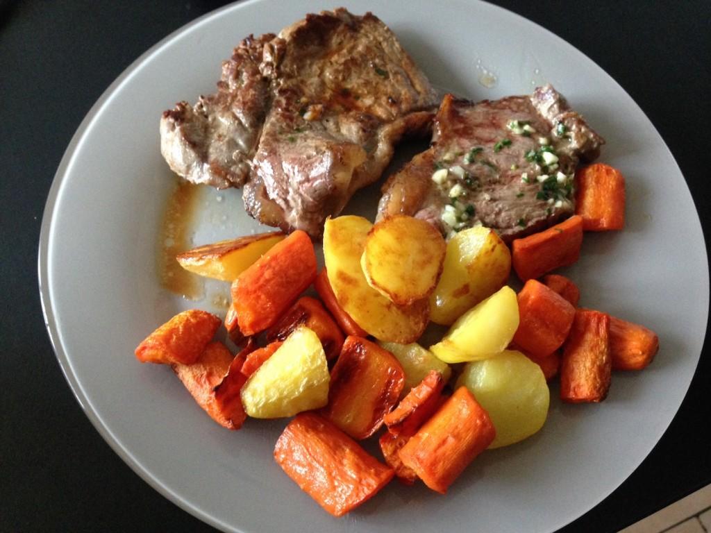 Pommes de terre carottes rôtis au four