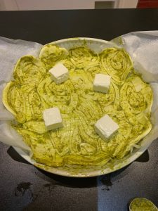 Tarte au pesto - Etaler du fromage - Recettes Delphine