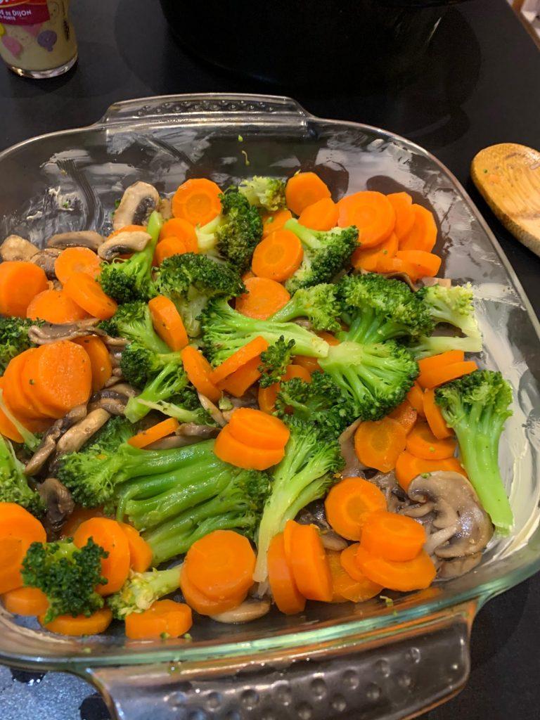 Gratin de légumes Brocolis Carottes Champignons
