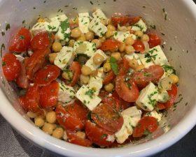 Salade pois chiche tomates cerise feta-Recettes Delphine